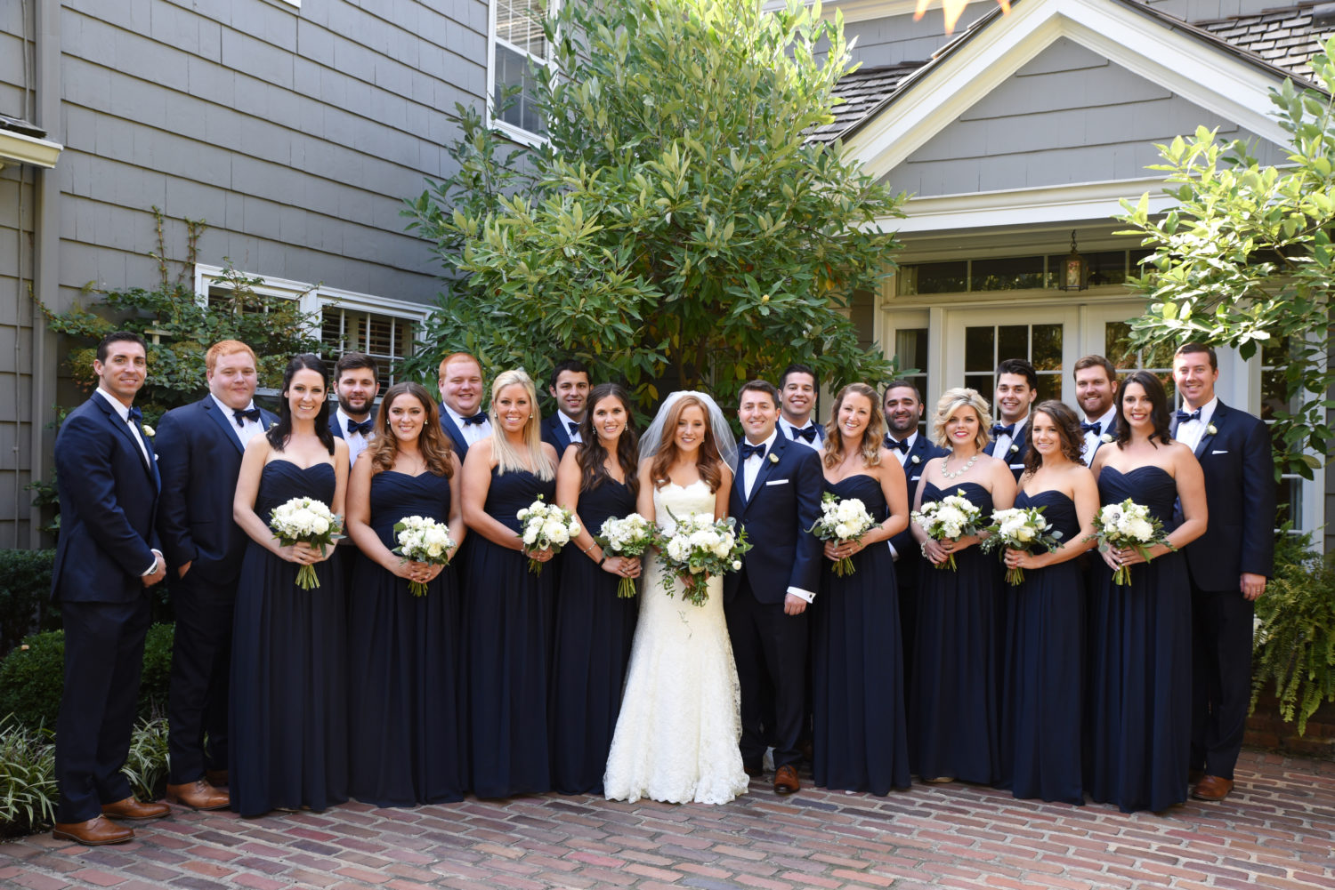 classic navy green and white wedding