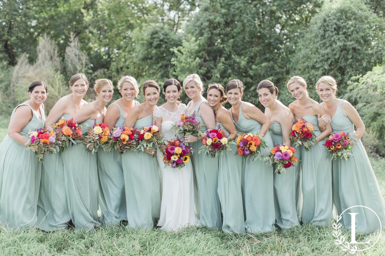 seafoam green mixed bridesmaids gowns