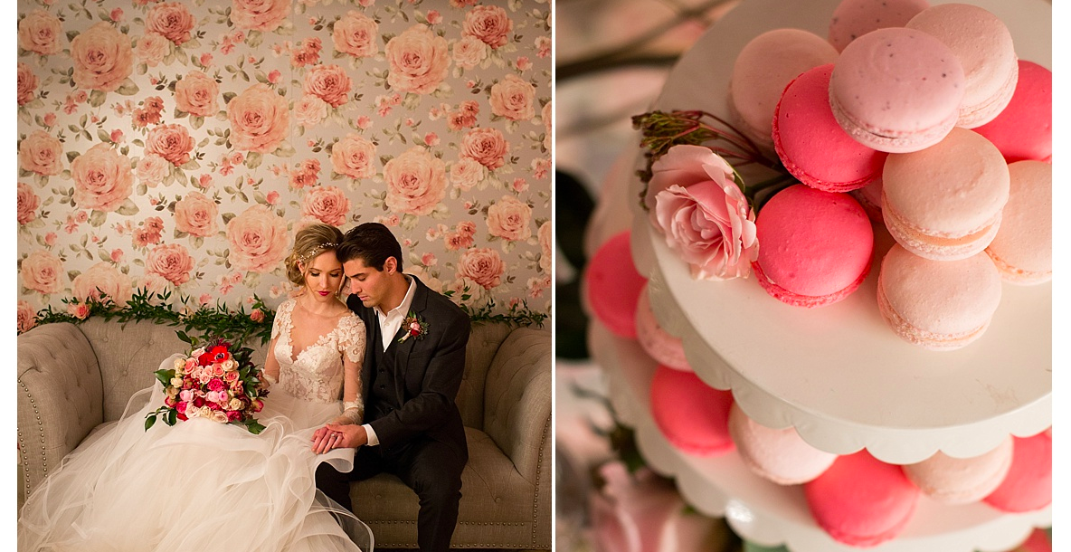 Pink macaron and floral wedding inspiration