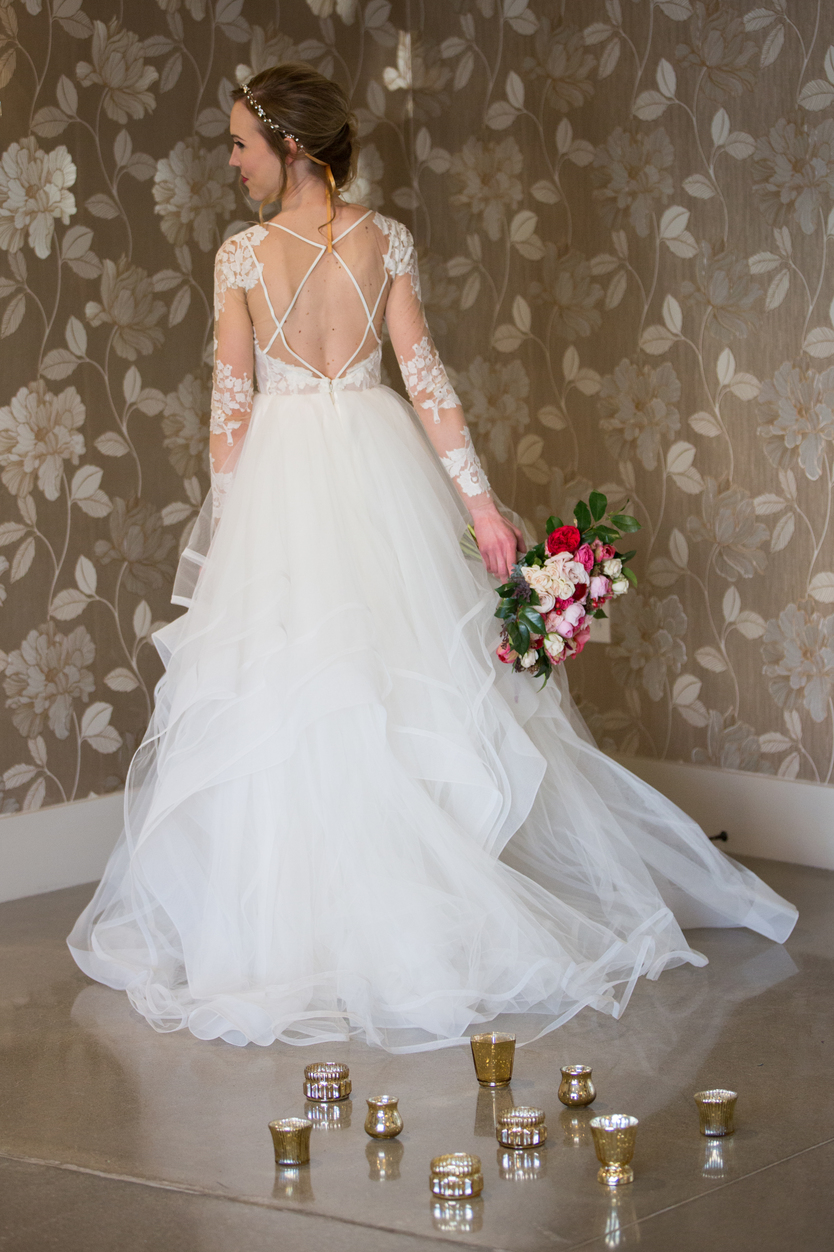 open back lace detailed wedding gown