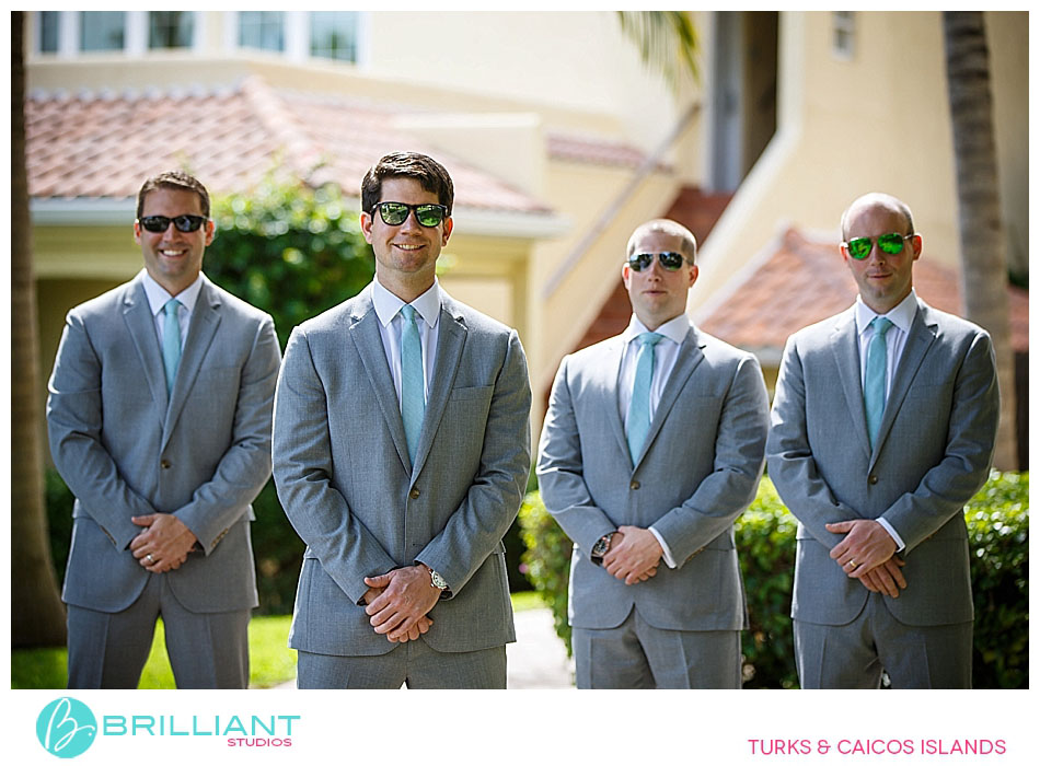 grey suits with turquoise ties