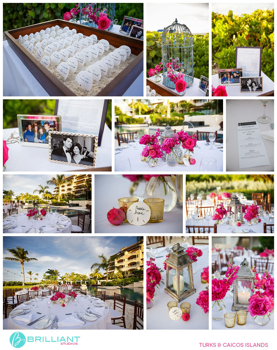 island wedding reception sea shells fuschia flowers